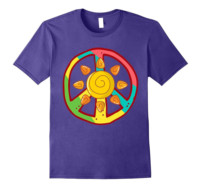 PEACE SIGN LOVE Ancient Aztec Sun Tie Dye Hippie T Shirt-FL