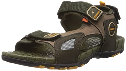 9c2159bba82a5 Sparx Men's Olive and Yellow Athletic and Outdoor Sandals - 8 UK (SS-604)