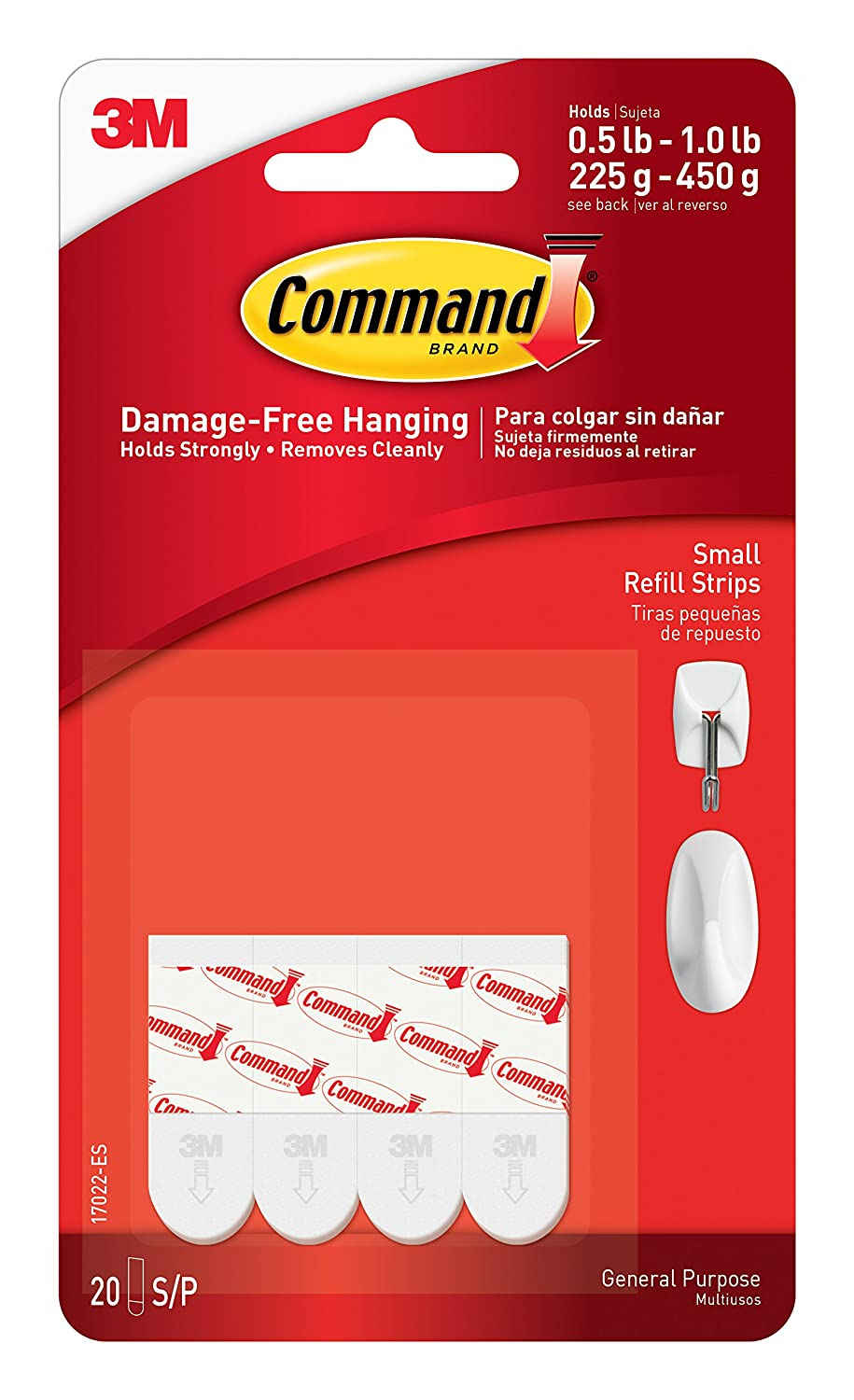 Command Small Clear Refill Strips, 16 Sets of Strips 17022CLR-16ES