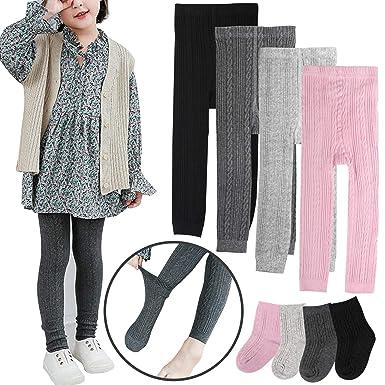cb938a53822c1 BOOPH Girls Leggings Pants Baby Toddler Footless Knits Tights Stockings - 4  Legging Pants + 4