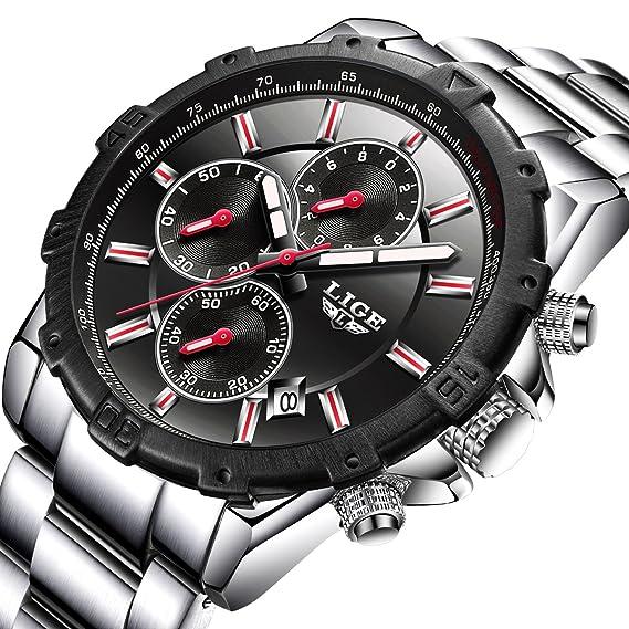 WATCH Hombres Moda Deporte Cuarzo Reloj para hombre relojes primera marca lujo negocio de acero completa resistente al agua reloj: Amazon.es: Relojes
