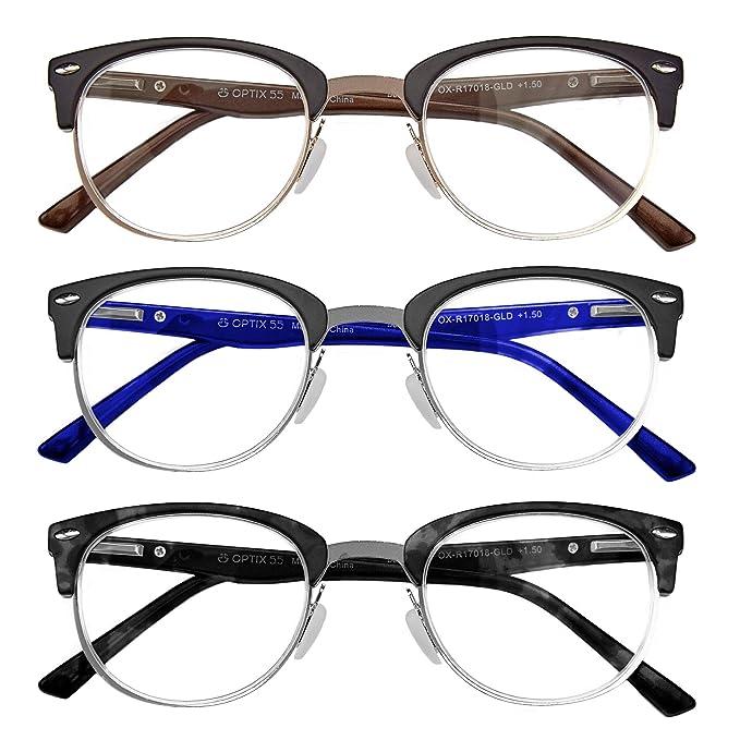 d76e6e20c22 Optix 55 Prescription Reading Glasses 3 Pack –Men s and Women s Designer  Readers