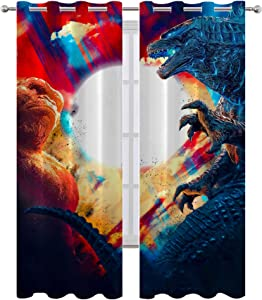 SSKJTC Printed Curtains for Bedroom Godzilla Vs King Kong Movies Poster Balcony Room Decor Curtain W72xL84 Inch