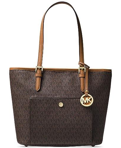 c2054d40c5f0 Amazon.com: MICHAEL Michael Kors Jet Set Medium Top Zip Snap Pocket MK  Signature Tote - Brown: Shoes