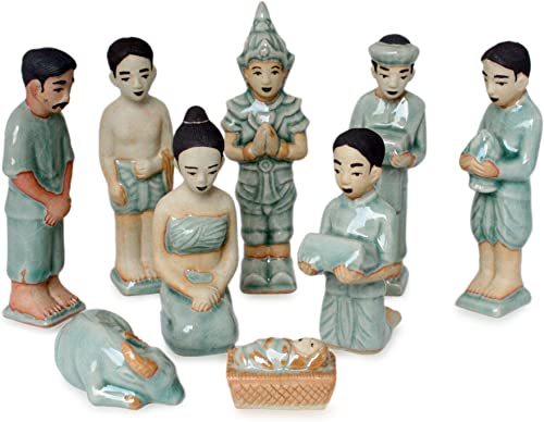 NOVICA Blue Celadon Ceramic Handmade Christmas Holiday Nativity Scene, 5 Tall Thai Christmas Set of 9