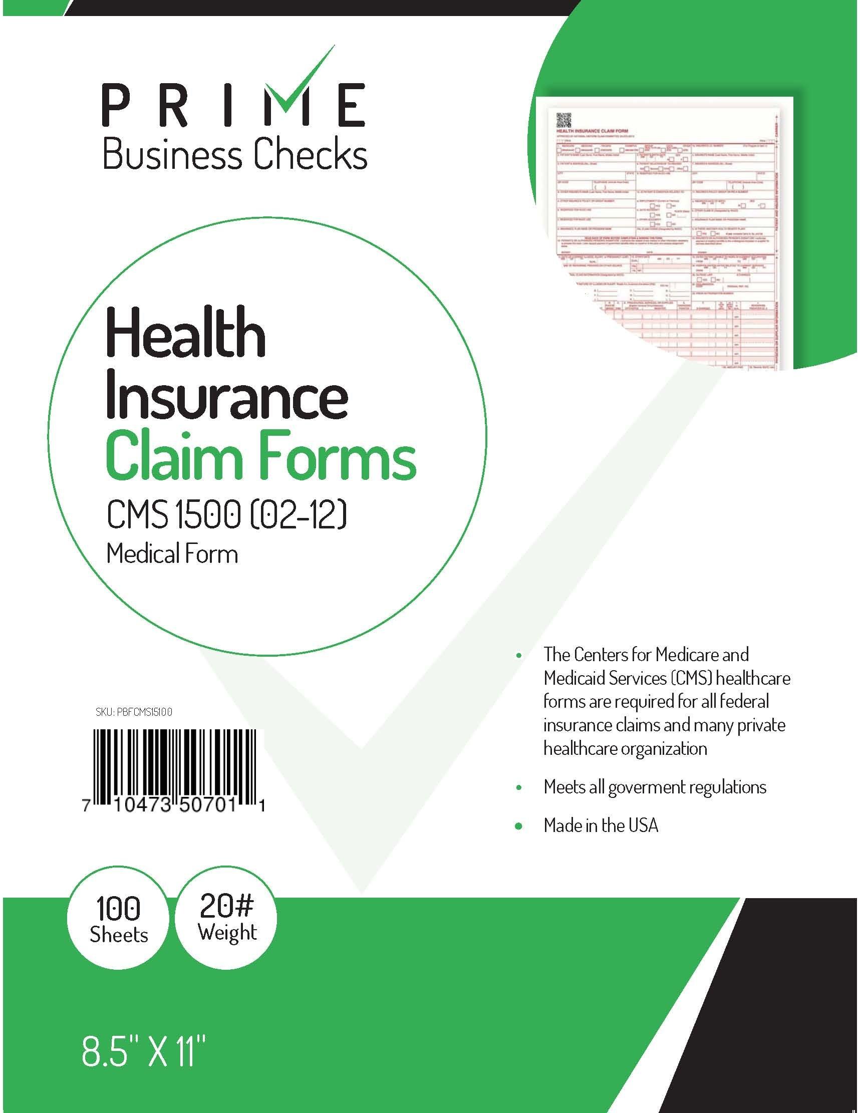 CMS 1500 Claim Forms ''NEW'' HCFA (Version 02/12) - Health Insurance, Laser Cut Sheet - 100 Sheets