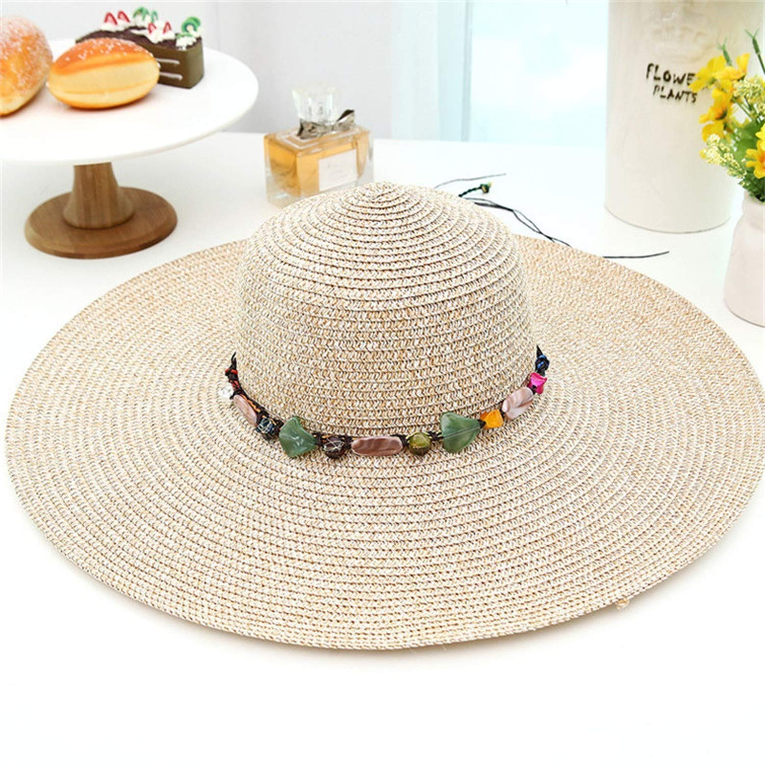 Fortune-god Women Big Brim Sun Hats Foldable Colorful Stone Hand Made Straw Beach Hat