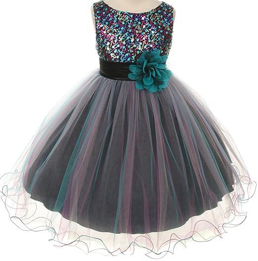 Amazoncom Flower Girls Dress Big Girls Multi Sequin Beaded Dress