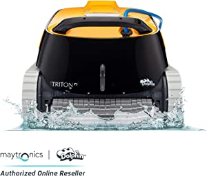 Dolphin Triton PS Automatic Robotic Pool Cleaner with Extra-Large Filter Basket and Superior Scrubbing Power, Ideal for In-ground Swimming Pools up to 50 Feet.