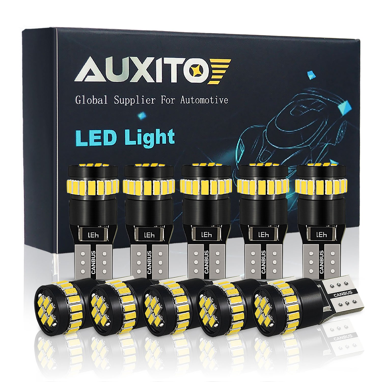 AUXITO 194 LED Light Bulb 6000K White Super Bright 168 2825 W5W T10 Wedge 24-