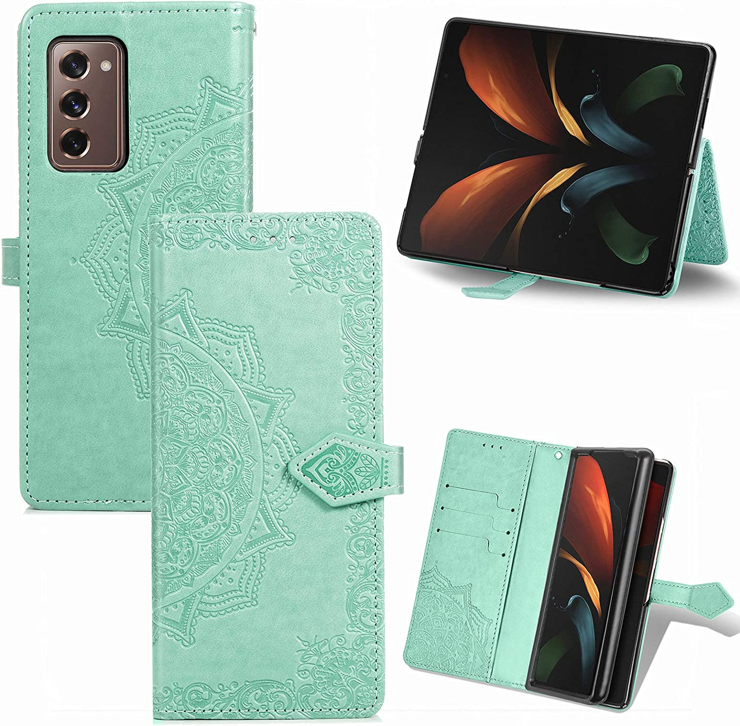 Samsung Galaxy Z Fold 2 5G Cases,Galaxy Z Fold 2 Flip Case for Girl Woman,Emboss Floral Mandala Flowers Leather Wallet Case Kickstand Flip Cover Card Holder for Samsung Galaxy Z Fold 2 5G Mint