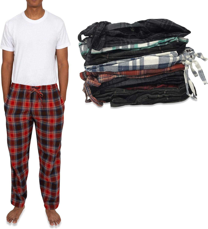 ANDREW SCOTT Men's 4 Pack 100% Cotton Flannel Pajama Sleep Pant - Lounge Pants