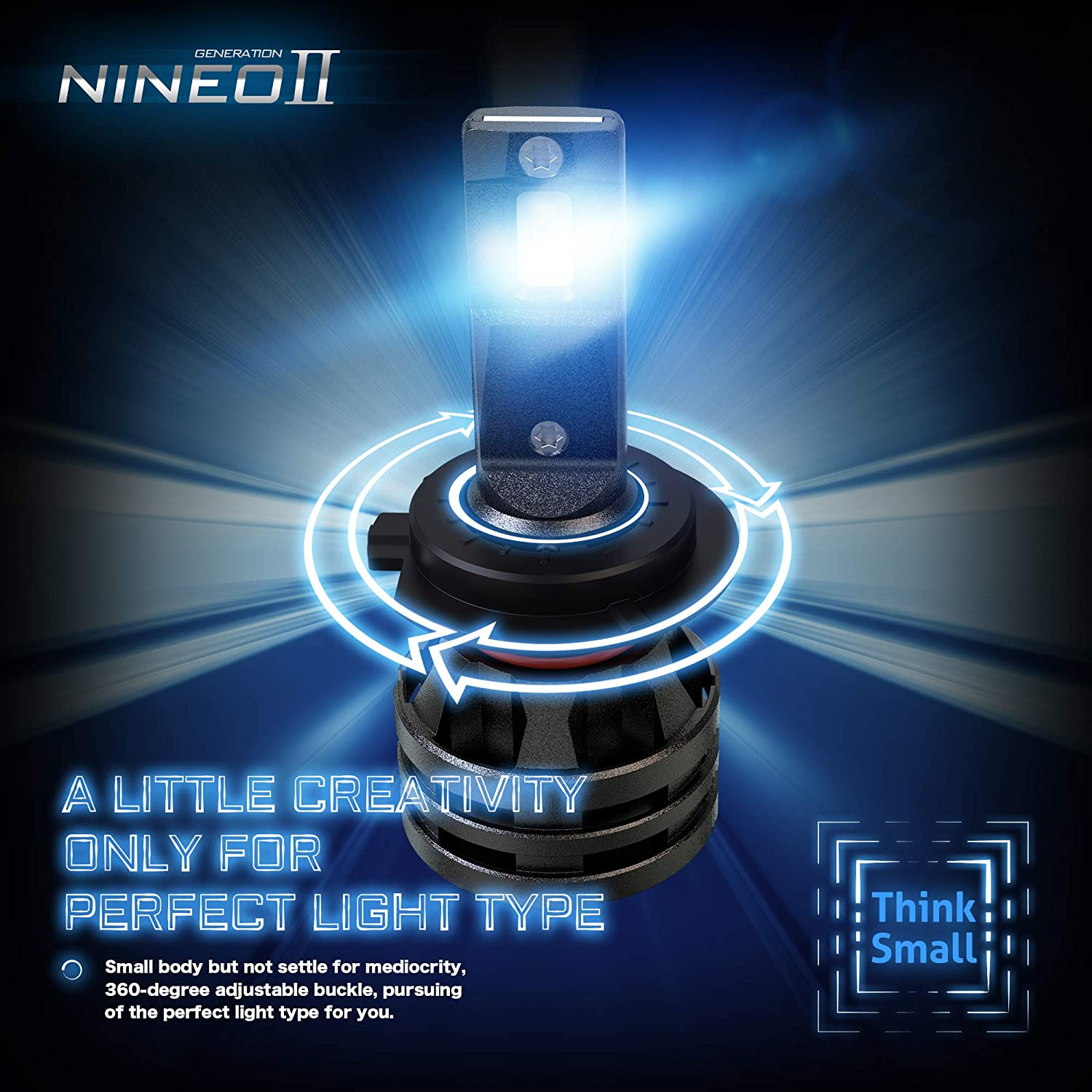 NINEO H4 LED Headlight Bulbs w//Small Size,10000LM 6500K Cool White CREE Chips 9003 All-in-One Conversion Kit