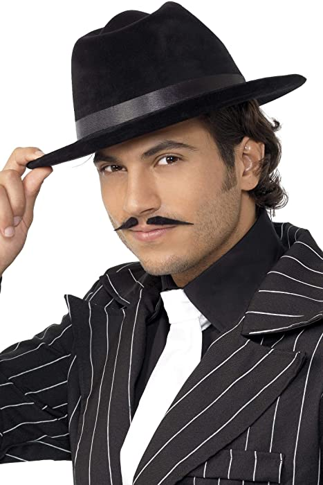 Gangster Hat Black Velour Adult Mens Smiffys Fancy Dress Costume Hat