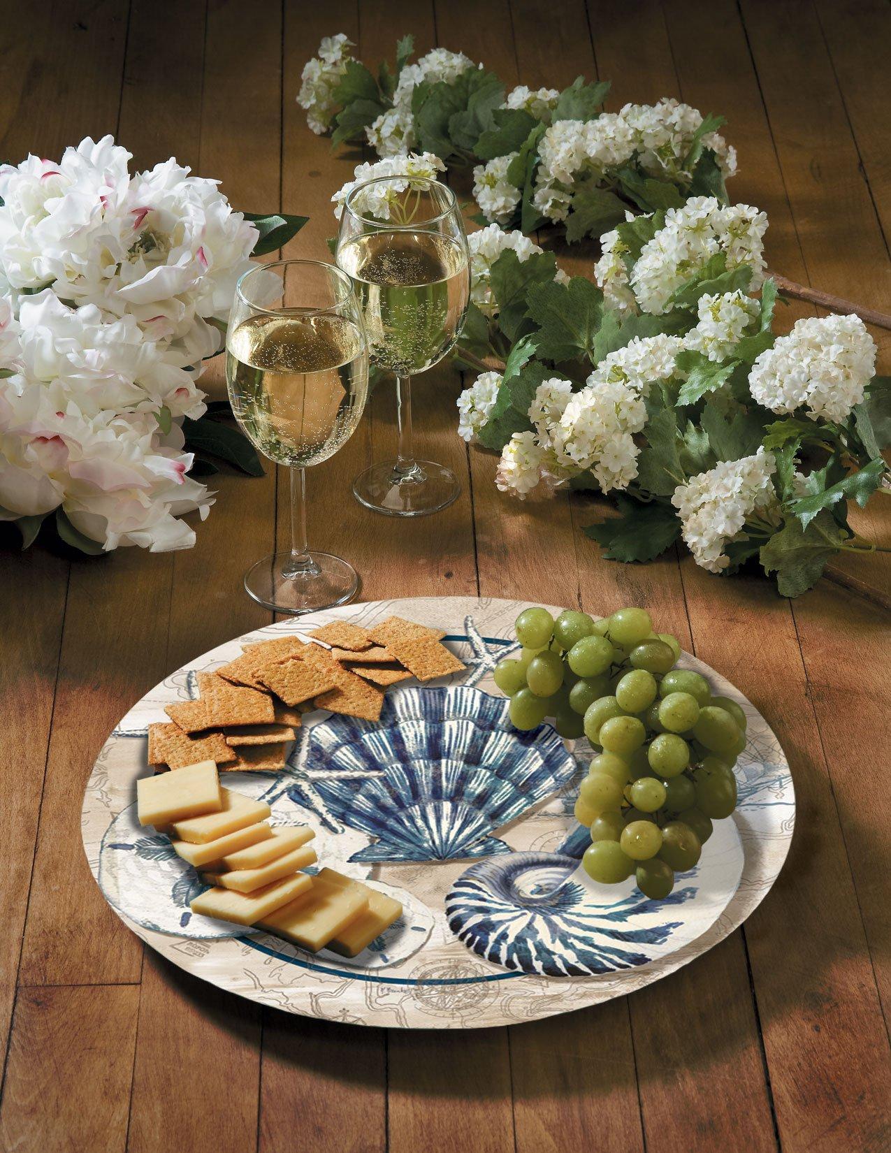 CounterArt Tide Pool Shells Glass Lazy Susan Serving Plate, 13''