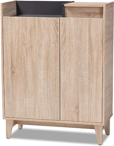 Baxton Studio Shoe Cabinets, One Size, Oak Gray