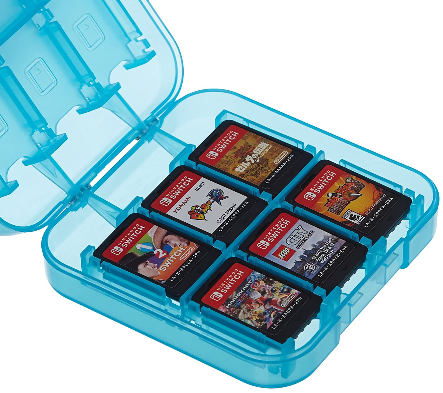 AmazonBasics Game Storage Case for 24 Nintendo Switch Games - 3.4 x 3.4 x 1 Inches, Blue