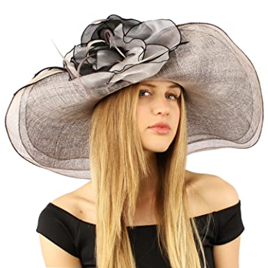 cde171a934f6c Summer Kentucky Derby Side Flip 7 quot  Brim Layer Floppy Flower Feathers  Hat Black