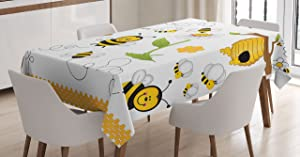 "Ambesonne Collage Tablecloth, Flying Bees Daisy Honey Chamomile Flowers Pollen Springtime Animal Print, Rectangular Table Cover for Dining Room Kitchen Decor, 60"" X 90"", White Yellow"