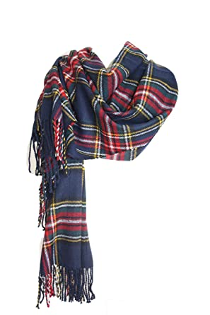 Samanthajane womens Mens Scottish tartan Check Plaid large scarf wrap  pashmina shawl Red Blue, Blue, Length 220 x 78cm  Amazon.co.uk  Clothing 4c1bdc5ead7