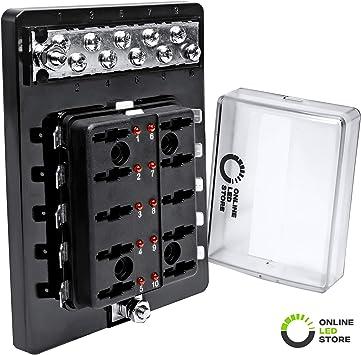 Amazon.com: 10 Way Blade Fuse Block with Ground Negative Bus bar for  Automotive [ATC/ATO Blade Fuses] [100 Amp] [LED] [Protection Cover] [12V -  30V DC] Auto Marine Ground Terminal Fuse Box: AutomotiveAmazon.com