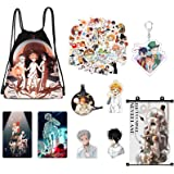 The Promised NeverIand Manga Merch,50 pcs Stickers+Drawstring Bag+Necklace+Poster+Brooch+Card+Keychain
