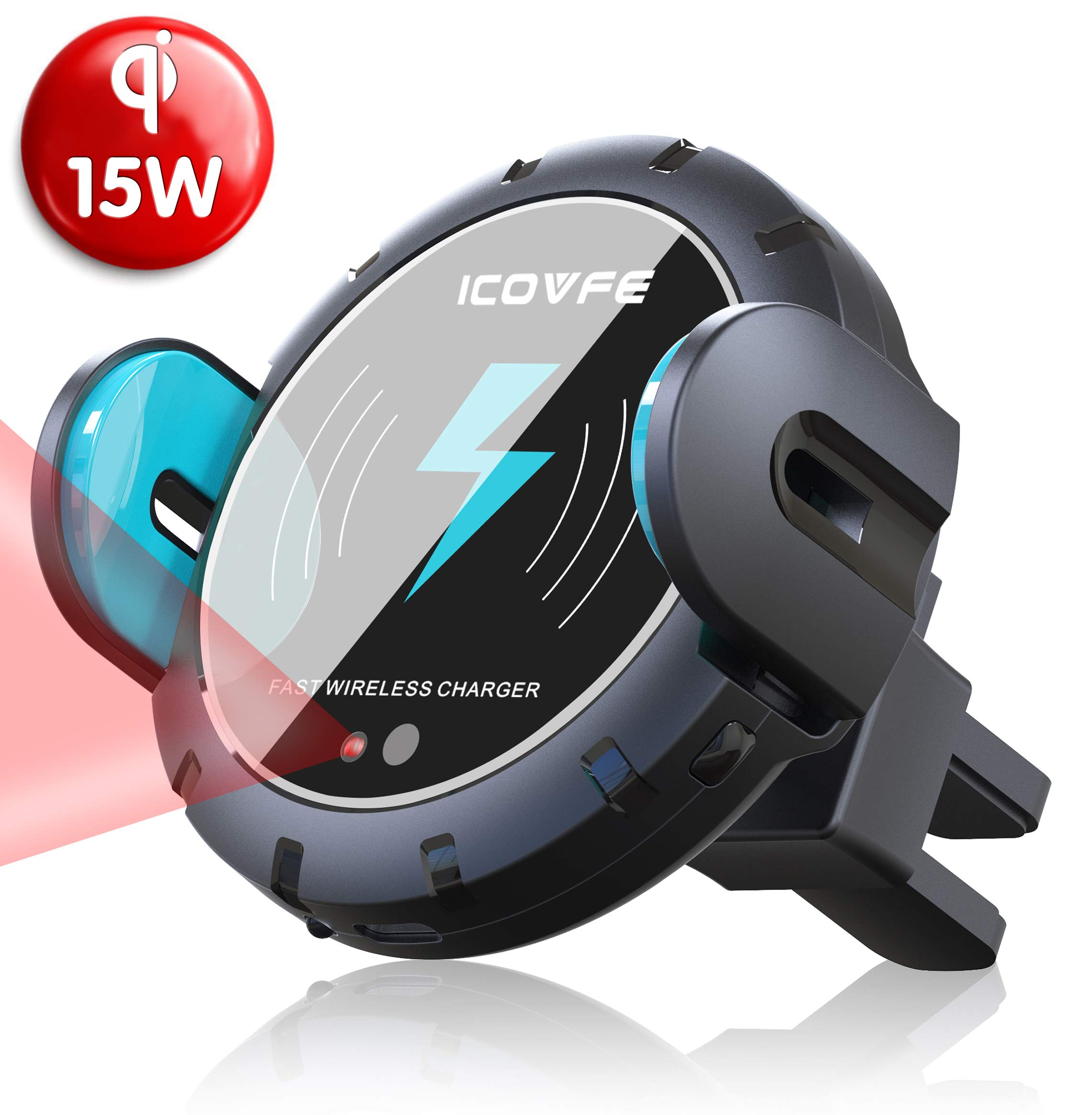 Wireless Car Charger Mount, iCovfe Auto Clamping with IR Sensor Qi 15W/10W/7.5W Wireless Fast Charger Air Vent Phone Holder Compatible with iPhone X/Xs/Xs Max/XR/8/8 Plus/Samsung S10/S9/S8/Note9/Note8 by ICOVFE
