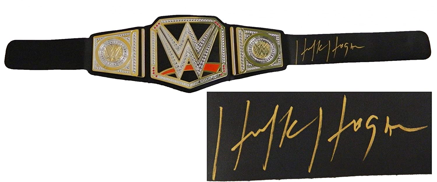 Hulk Hogan Signed WWE World Heavyweight Champion Black Replica Belt -  Autographed Wrestling Robes 0a0336c9f