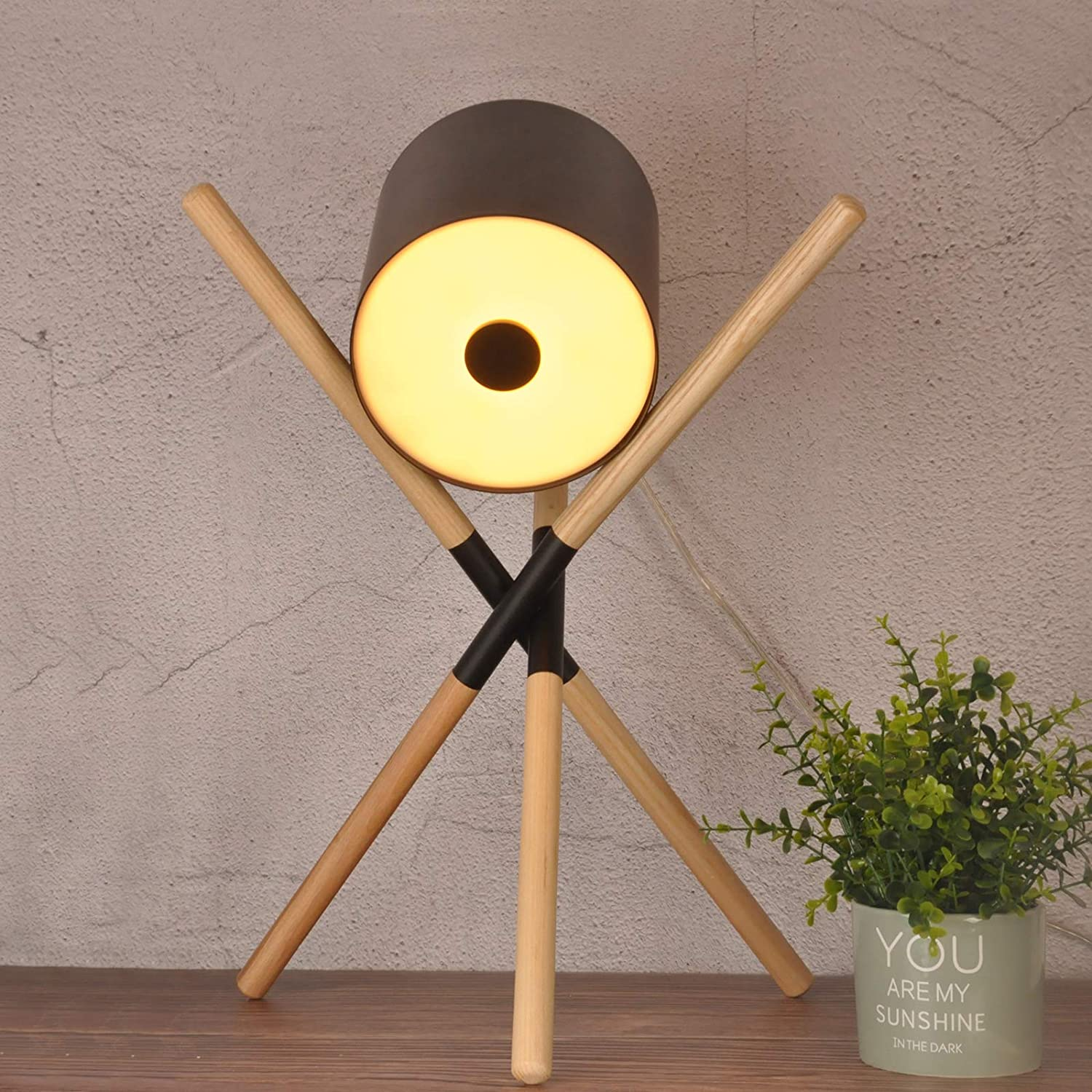 Vintage Table Lamp Adjustable Head Direction Height for Farmhouse Industrial Decor, Tripod Table Lamp Modern Nordic Design Wood Legs for Bedroom Living Room Studio Cafe, Black(No Bulb)
