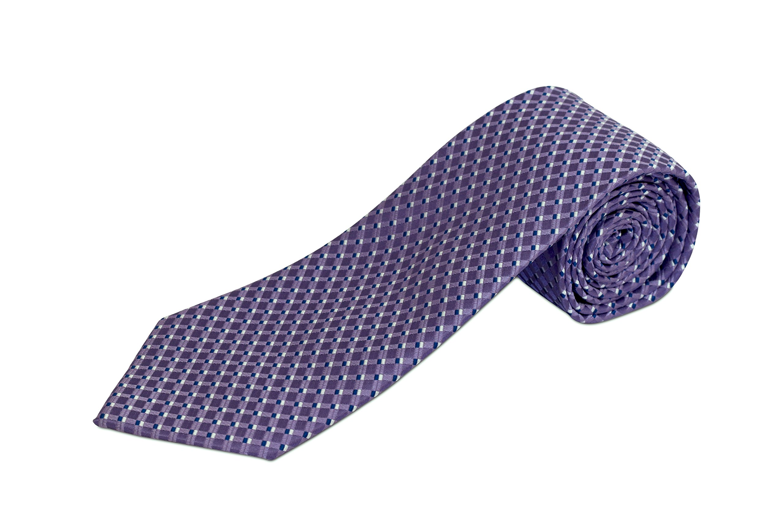 Extra Extra Long Lavender with Navy Dot Silk Necktie (70 Inches)