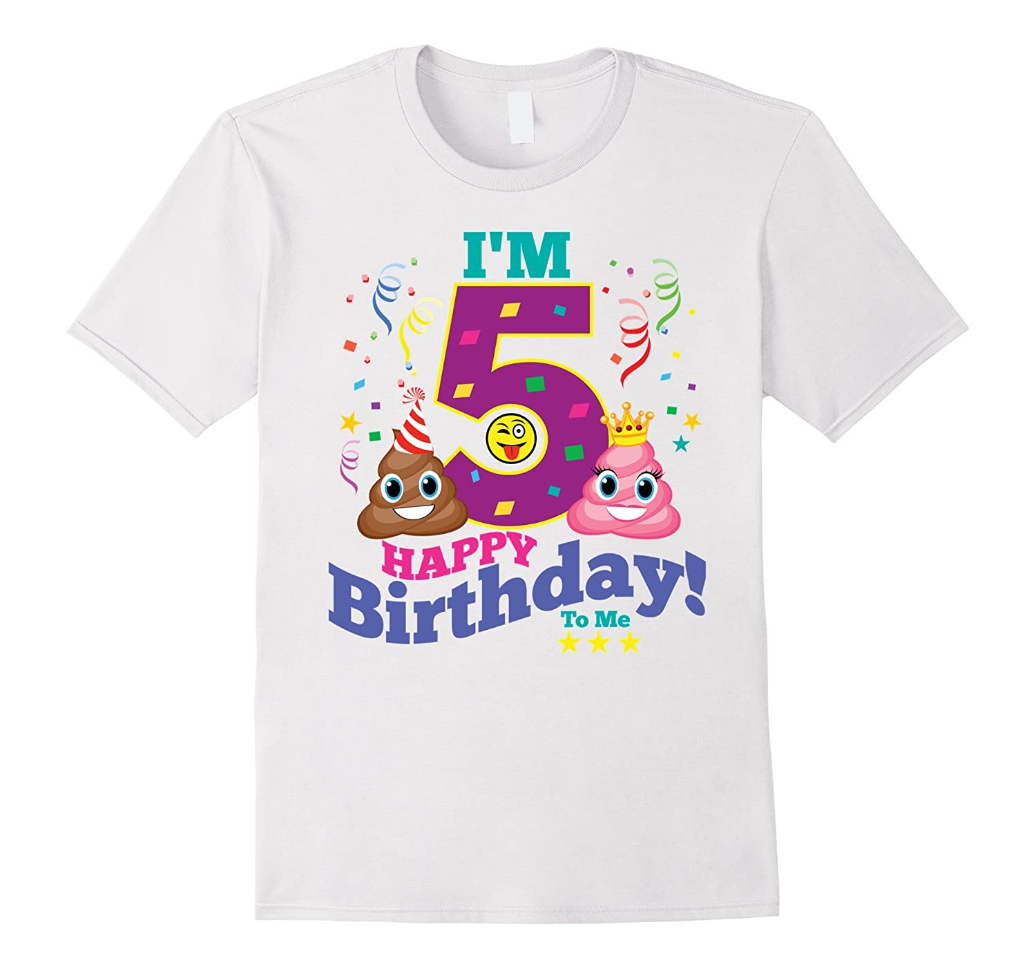 Poop Emoji Happy 5th Birthday Shirt
