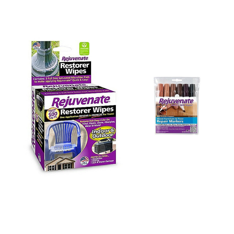 Amazon.com: Rejuvenate Wood Furniture & Floor Repair Markers w/Rejuvenate 5-Pack Restorer Wipes - 1 Pack: Kitchen & Dining
