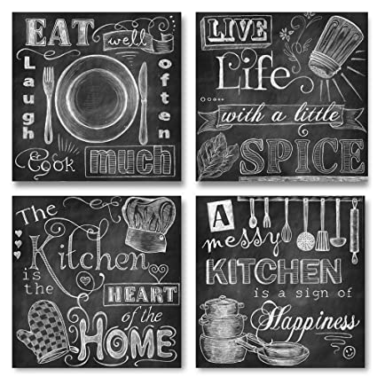 Gango Home Decor Beautiful, Fun, Chalkboard Kitchen Signs; Messy Kitchen,  Heart Of