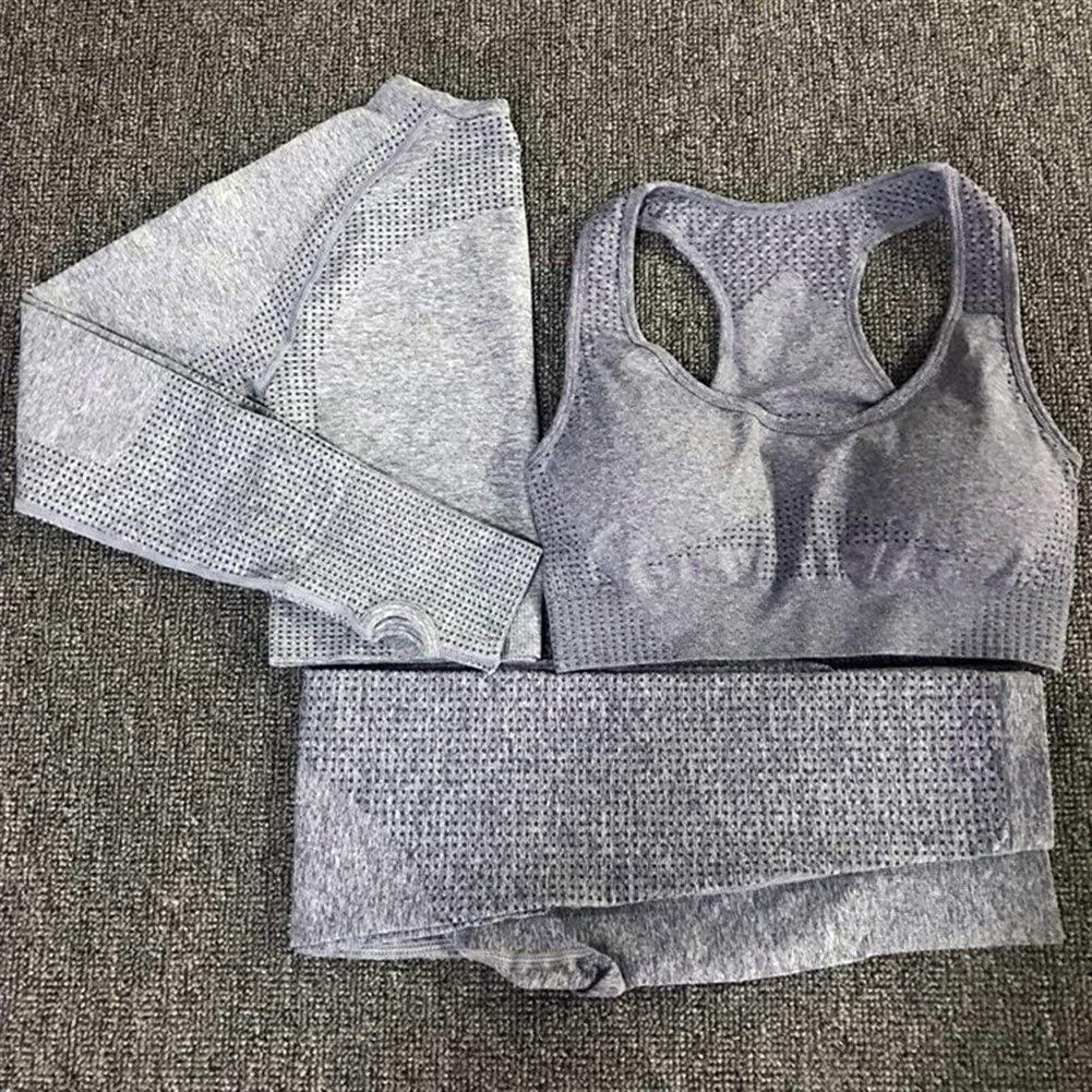 3 PCS Yoga Ensemble Vital sans Couture Leggings Soutien-Gorge De Sport À Manches Longues Crop Top Femmes Running Gym Vêtements Taille Haute Fitness Costume De Sport Pink Bras