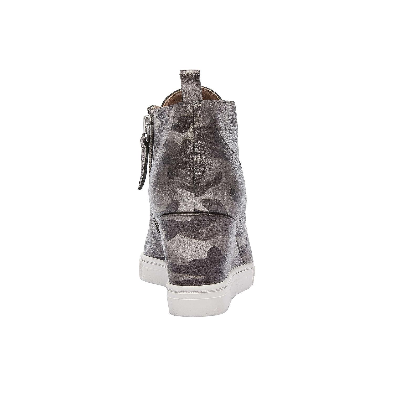 Felicia | Women's Platform Wedge Bootie Sneaker Leather Or Suede B07F6TLXHT 6 M US|Dark Grey Print Leather