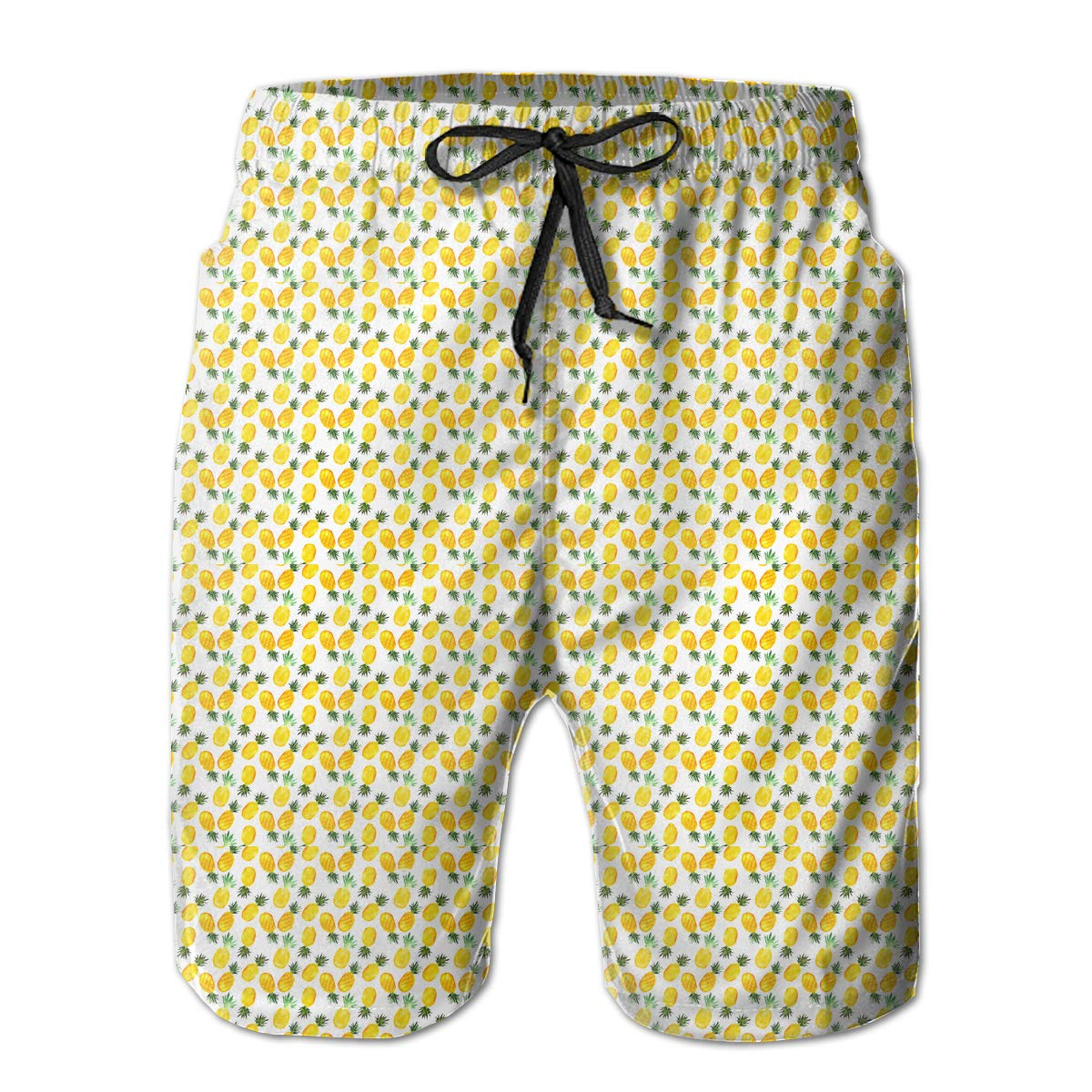 Shakumen Watercolor Pineapples Pattern Mens Beach Shorts Breathable Swimming Trunks with 3 Pockets