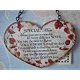 Wood Poppy Heart Plaque Sign Special Mum Gift