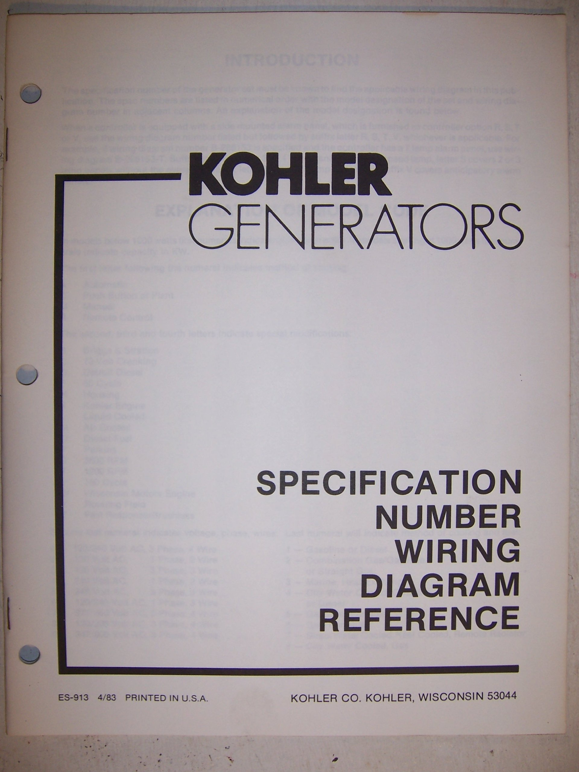 kohler generators specification number wiring diagram reference Atlas Copco Generator Wiring Diagram
