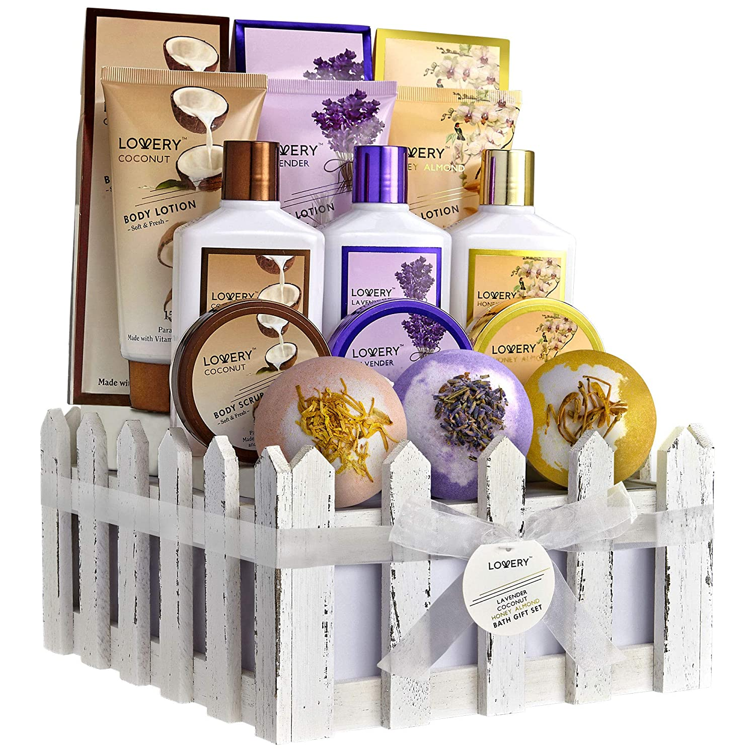 Home Spa Gift Baskets For Women & Men, 16 Piece Set of Coconut, Lavender Jasmine & Honey Almond Scent, Includes Lotions, Salts, Bubble Baths, Body Scrub & Large Bath Bombs, Birthday & Holiday Gifts