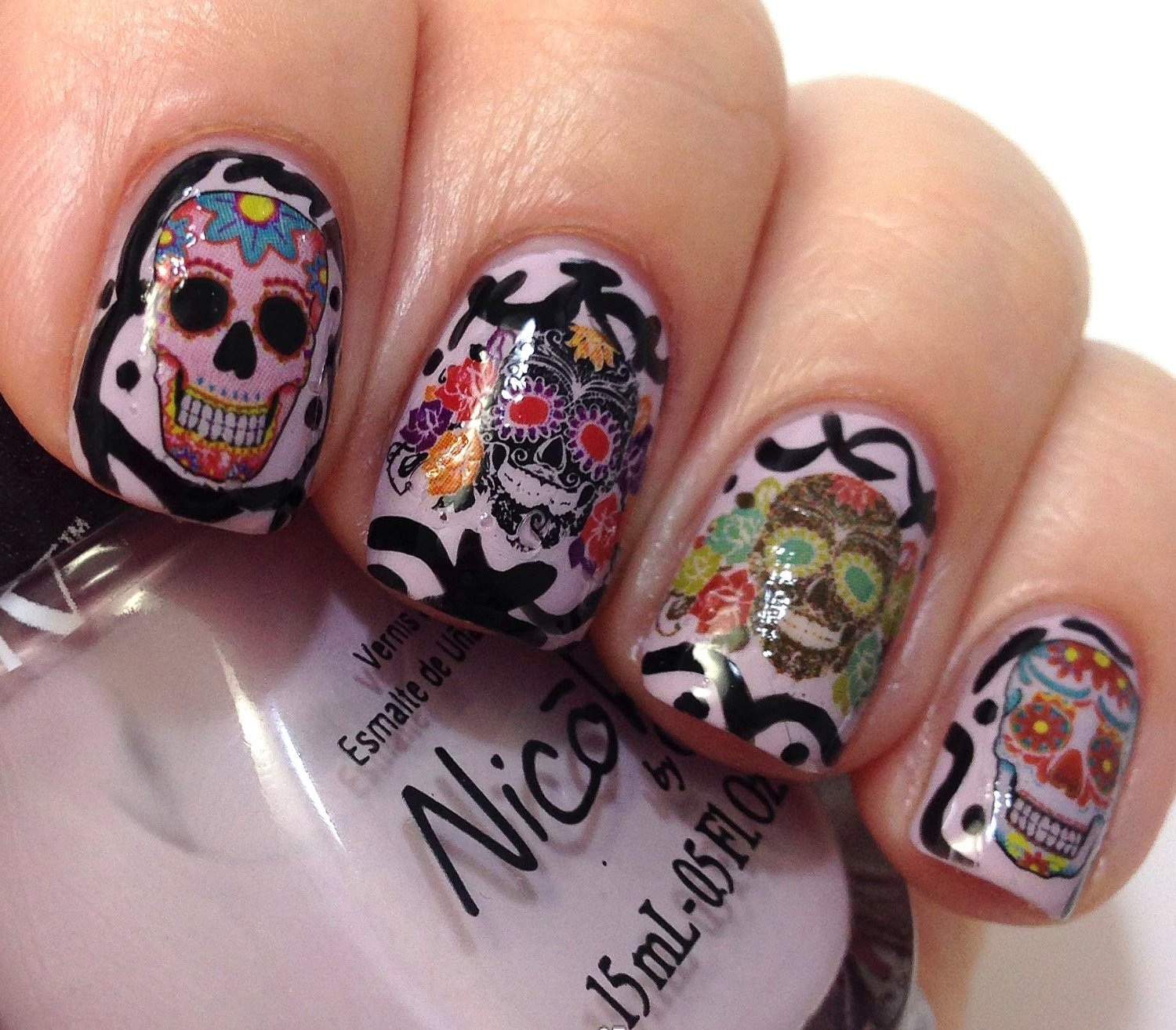 Amazon.com: Sugar Skull Nail Art Day of the Dead Decals Assortment ...