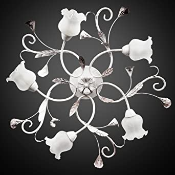 AKTUELL Deckenleuchte Weiss Deckenlampe Echtes Glas Lampe Kche Wohnzimmer 653 5C