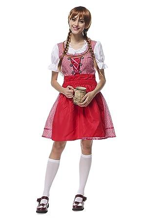 37660e30b3 Disfraz de Oktoberfest para Mujer Vestido del Festival de la Cerveza  Alemana Falda Corta Baviera Lederhosen Beer Girl Rojo  Amazon.es  Ropa y  accesorios