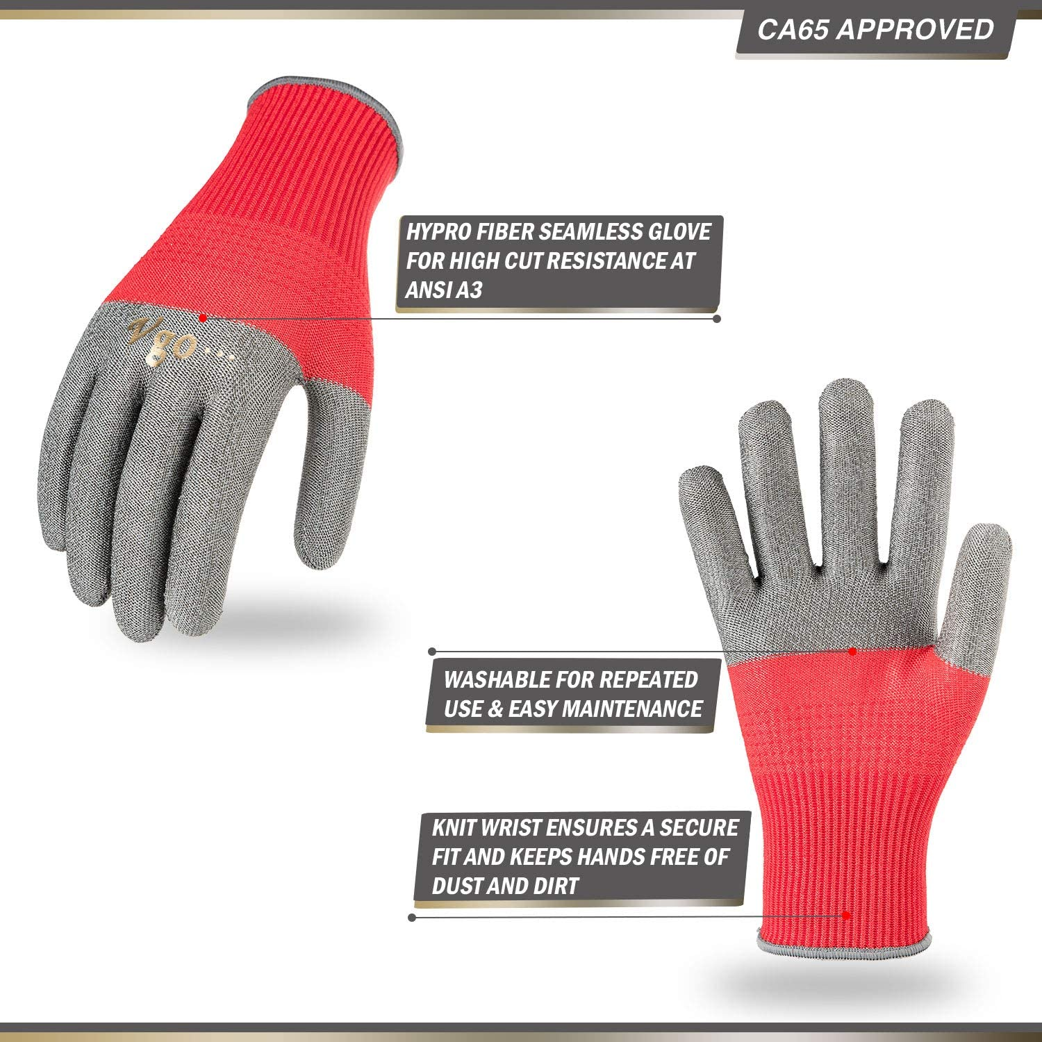 Vgo 5Pairs Washable Cut Resistant Work Gloves Dust Proof Knitted Cuff Dipping Gloves Size L, 3Colors, HY2155