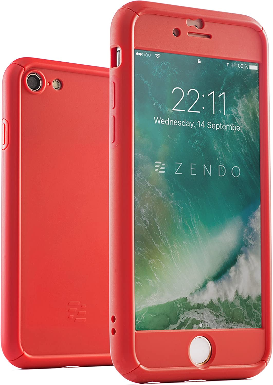 ZENDO Coque iPhone 7/8 Antichoc EXTRÊME (avec Amortisseurs) Protège Écran (9H) | Coque Intégrale 360° NanoSkin Freefall [Semi-Transparent]