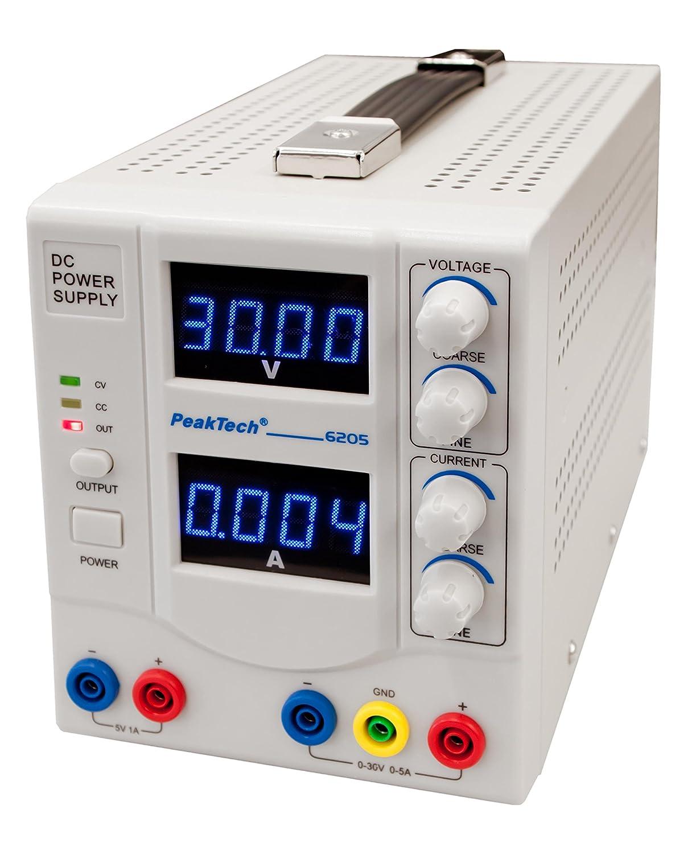 /30/V//0/ 1/pieza P 6205 /5/A PeakTech Linear DC fuente de alimentaci/ón de laboratorio de modulaci/ón de dispositivo 1/CH 0/