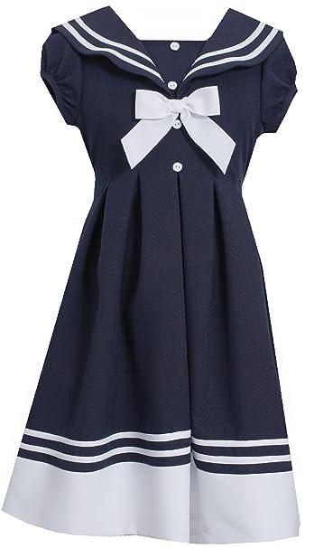 Vintage Style Children's Clothing: Girls, Boys, Baby, Toddler Bonnie Jean Girls White & Navy Large Collared Dress $28.00 AT vintagedancer.com