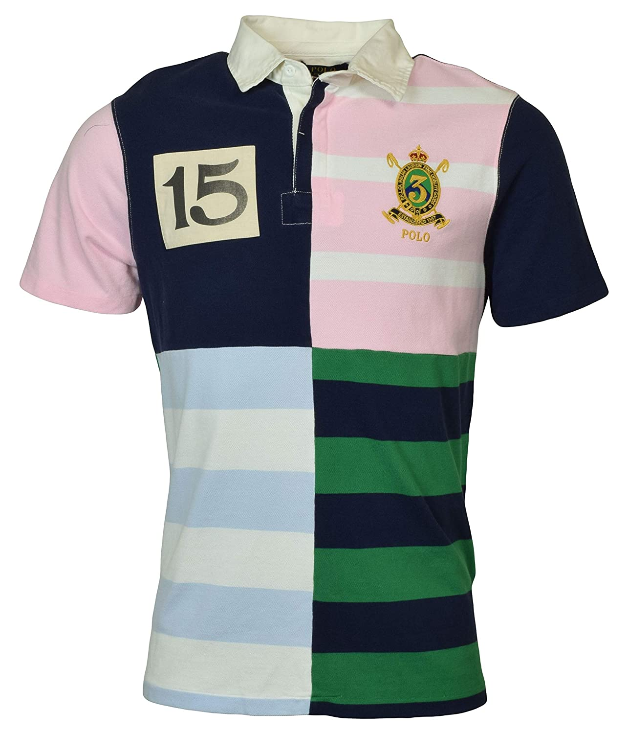 Polo Ralph Lauren Mens Custom Slim Fit Patchwork Rugby Shirt