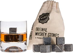 Premium Whiskey Stones Gift Set with 12 Pcs Stones and Bag. Whiskey, Bourbon, Cognac, Scotch,Gin, Wine Beverage. Marble Reusable Ice Cubes. Birthday Gift for Whiskey Lovers.… (Dark Grey)