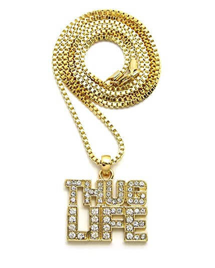 "4ed607b5951738 Iced Out THUG LIFE Pendant 20"",22"",24"" Various Chain Necklace"