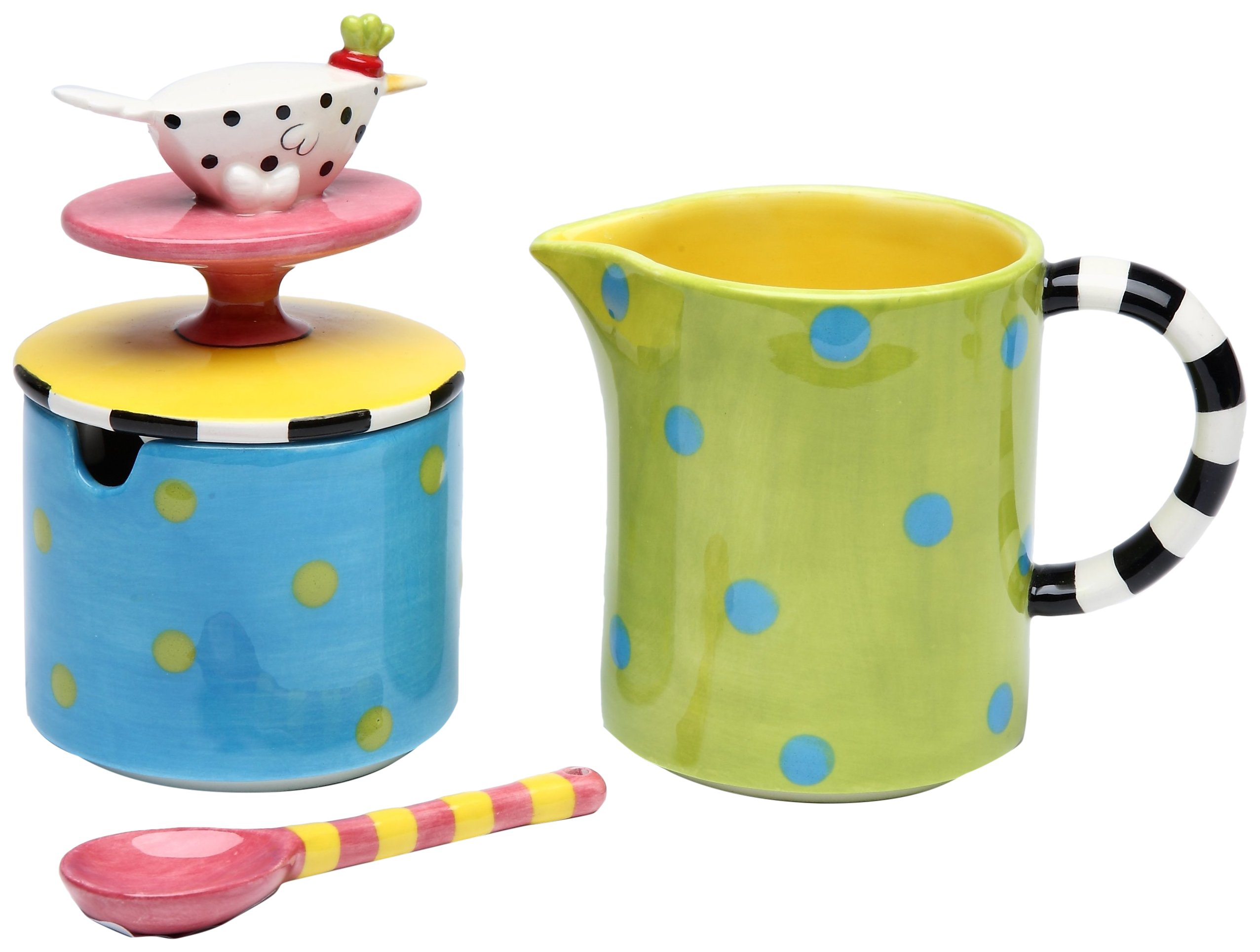 StealStreet SS-CG-62664, 4.38 Inch Polka Dotted Bird Lid Sugar and Creamer Set with Spoon